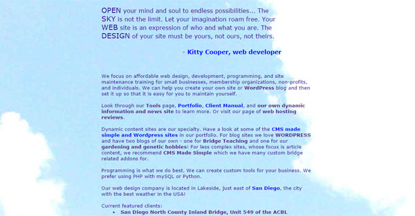 Click to go to my business site Open Sky Web Design